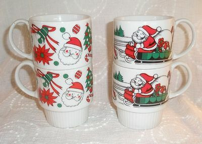 4 Vintage Sy Japan Stackable Christmas Coffee Cup Mugs
