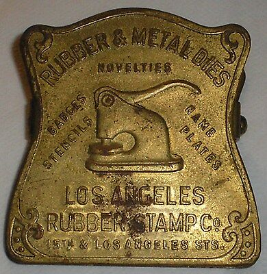 ANTIQUE METAL LOS ANGELES RUBBER STAMP CO. Advertising Clip