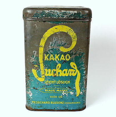 Suchard Kakao Vintage Cocoa Hot Chocolate Tin Can Hinged Lid 1000gr Size