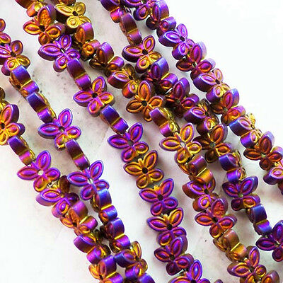 QSAM2514 Beautiful 1 strand Carved Purple Hematite Butterfly loose bead15.5 inch