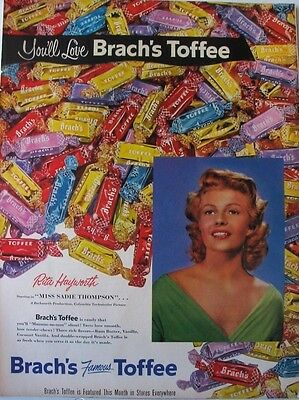 1954 BRACH'S Toffee Candy Advert ~ pretty actress RITA HAYWORTH photo