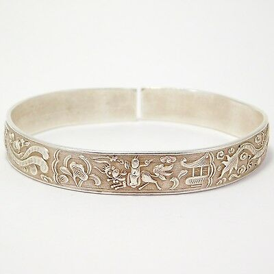 Antique Silver Chinese Bracelet Dragons Phoenix Chinese Marks