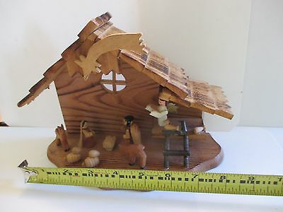 Hand Carved Vintage Solid Wood Nativity Creche Mary Joseph Animals