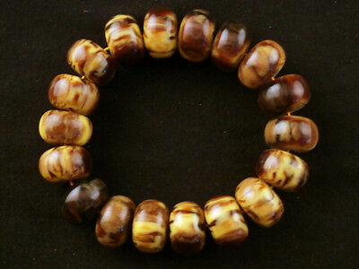 Tibetan Amber Beeswax Disc Beads Prayer Bracelet D013