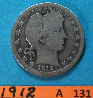 1912  US    Barber Quarter    Circulated   See photo  A-131