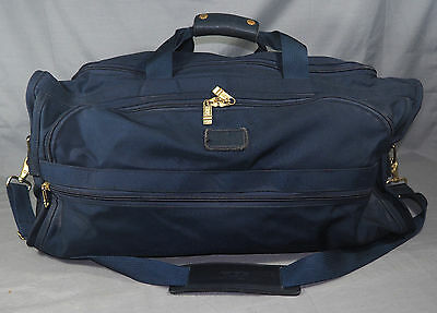 TUMI Navy Blue Ballistic Nylon Canvas & Leather Duffel Bag Satchel EXCELLENT