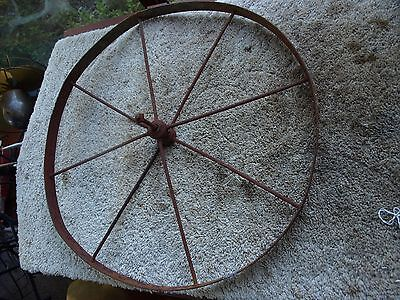 Antique Steel / Iron Primative Cart Wheelbarrow Wagon Wheel 8 Spoke 23 Inch