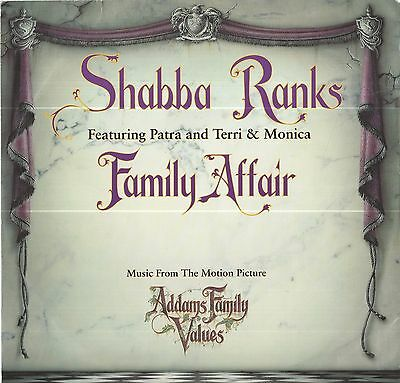 """Shabba Ranks - Family Affair 12"""" Single - From The Motion Pic -Addams Family"""