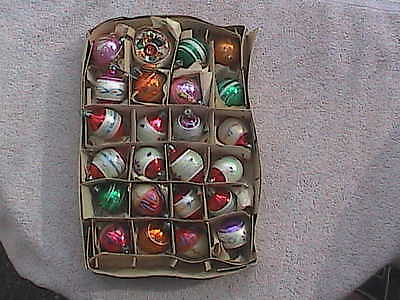 24 Vtg Antique Poland Xmas Ornaments Feather Tree Size Teardrops, Round & Indent