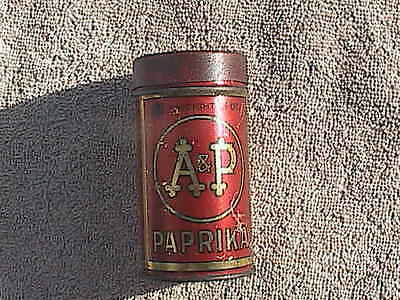 Early 1900's Vintage A&P Paprika Spice Round Tin Great Atlantic & Pacific Tea Co