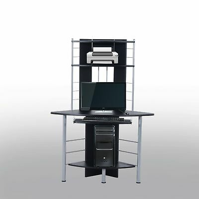 HOMCOM Computer Desk Workstation Furniture Office Home PC Pull Out Tray Black