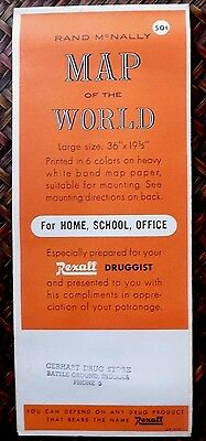 1950s VINTAGE REXALL RAND McNALLY COSMOPOLITAN MAP OF THE WORLD 36X19 UNUSED