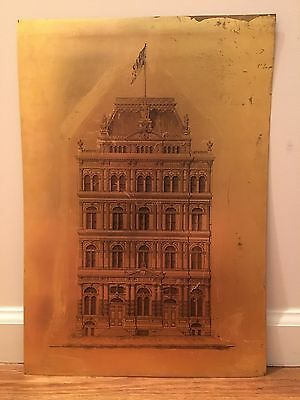 1870's New York Stock Exchange Antique NYSE Market Wall Street Old Copper Plaque