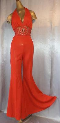 BOHO ROCKSTAR Vintage 1970s RED LACY HALTER BACK BELL BOTTOM JUMPSUIT - XS