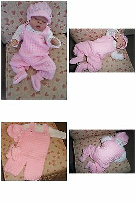 """Adorable Hand Knitted Four Piece Dungaree Set Designed 18/20"""" Reborn Doll / 0-3m"""