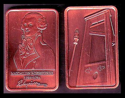 ● Copper Plated Bar ● Robespierre And Guillotine ●●