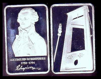 ● Silver Plated Bar ● Robespierre And Guillotine ●●