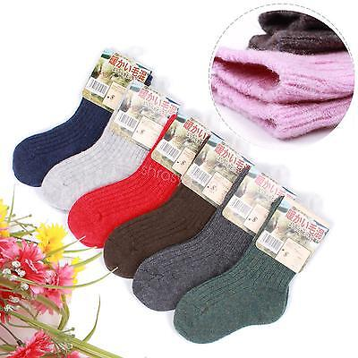6 Pairs Multi-Color Child Girls Boys Kids Cashmere Wool Thicken Warm Socks 2-12Y