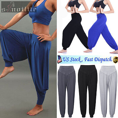 M-XXL Womens Yoga Pants Casual Baggy Harem Running Sport Fitness Gym Trousers SS