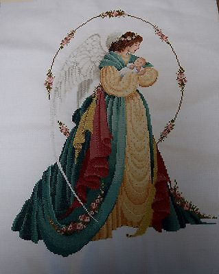 Completed Finished Cross Stitch, Lavender And Lace. Guardian Angel