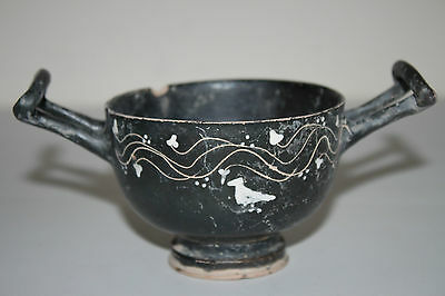 ANCIENT GREEK POTTERY GNATHIAN KYLIX 4th BC WINE CUP BIRD