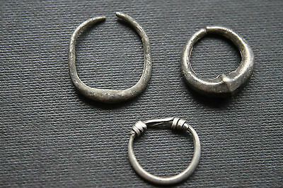 3 ANCIENT ROMAN SILVER EAR RINGS 1/2nd CENTURY AD