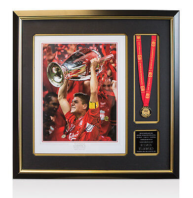 Framed Steven Gerrard Signed Champions League Presentation With Medal - 2005 Cha