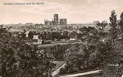 DURHAM CITY - RPPC Cathedral from The Banks