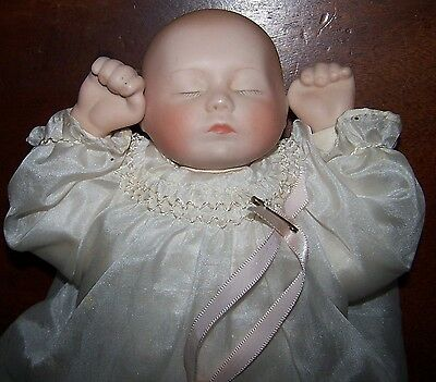 """Reproduction Sleeping Baby In Silk Gown - Gorgeous!!   10"""" Height"""