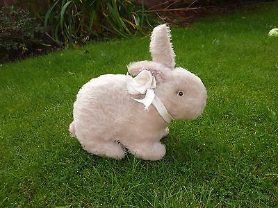 Antique Vintage White Mohair Bunny Rabbit With Pink Ears & Glass Eyes
