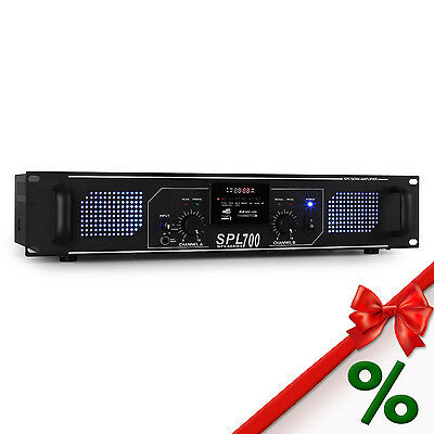 Amplificador Profesional Pa Dj 700W Aux Usb Sd Mp3 Radio Led Azul Disco Rack 48