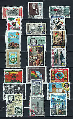 """R/al16707, LOT OF 21 USED STAMPS OF """"BOLIVIA -BOLIVIEN"""", ALL DIFFERENT"""