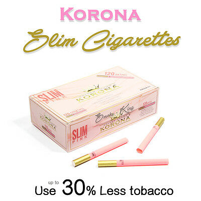 120 Korona Slim Pink/gold Empty Coloured Cigarette Filter Tubes