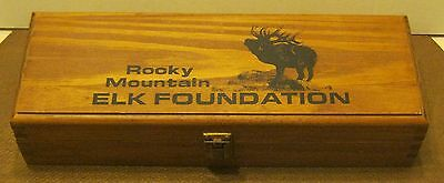 Wooden Case w 160 Hoyle Poker Chips ROCKY MOUNTAIN ELK FOUNDATION No Cards!!