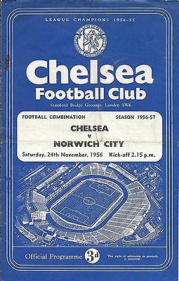 Chelsea Reserves v Norwich City Reserves 1956/57 - 4 Page