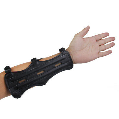 Recurve Bow Durable Leather 3 Straps Arm Guard & 3-fingers Protect Glove