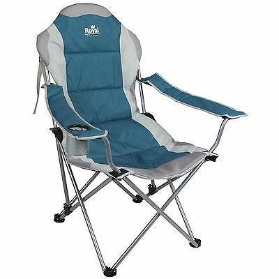 Royal Adjustable Padded Folding Chair Blue Silver 3 Positions Camping