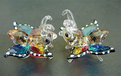 2 Tiny Glass BUTTERFLIES BUTTERFLY Insects Colourfully Painted Glass Ornaments