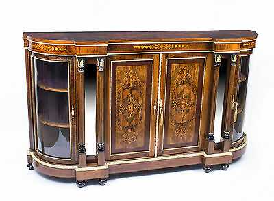 Antique Victorian Burr Walnut Inlaid 4 Door Credenza c.1880