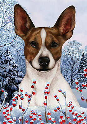 Large Indoor/Outdoor Winter Flag - Brown Rat Terrier 15130