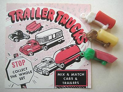 VINTAGE Plastic TRAILER TRUCKS Charms Gumball Prize w/AD TEASER DISPLAY