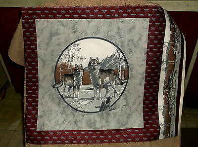 Grey Wolf  Wildlife  Pillow Panel Fabric Household Pillow