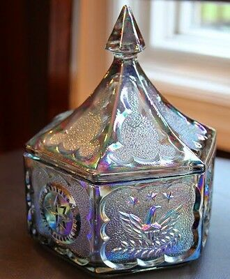 Vintage Indiana Tiara Iridescent Glass Colonial Star & Eagle Covered Candy Dish