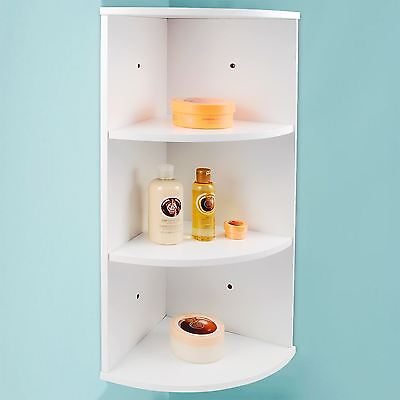 White Wall Mounted Bathroom Storage 3 Tier Corner Shelf Shelving Unit