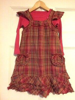 Girls 2 peice outfit pinafore and top age 3-4 years, M&S VGC, pinks