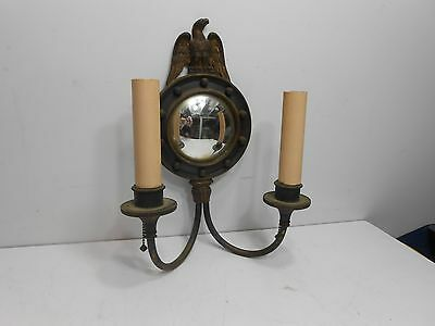 Antique Vtg English Convex Mirror Ornate Double Arm Wall Sconce Light Fixture.