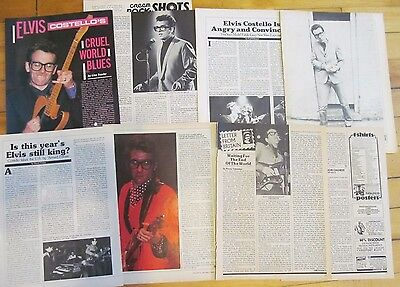 Elvis Costello, Lot of FOUR Vintage Clippings