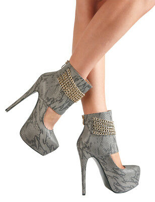 Sexy Decolte' con collo alto Pumps Python - Tacco 15 cm con catene dorate