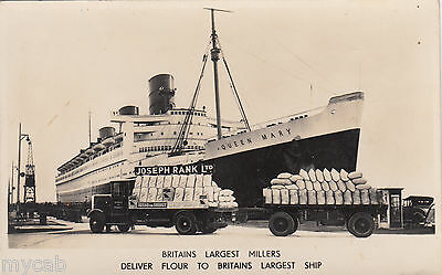 Postcard Joseph Rank flour trucks with Queen Mary cruise liner RP advertising