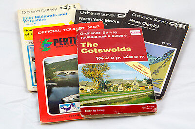 5 x Vintage UK Maps - Cotswolds, Peak District, North York Moors...